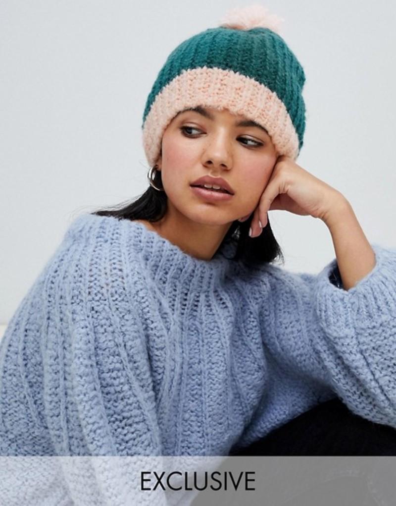 オネオン レディース 帽子 アクセサリー OneOn hand knitted fluffy teal hat Teal
