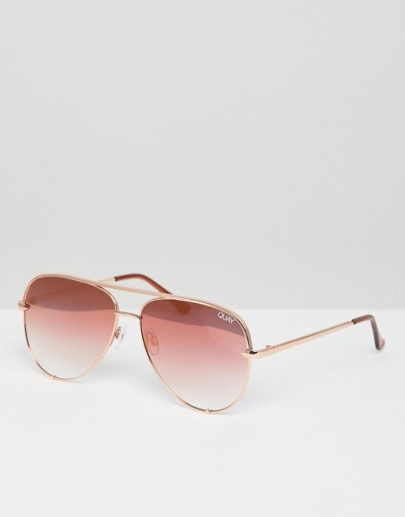 クアイオーストラリア メンズ サングラス・アイウェア アクセサリー Quay Australia X Desi High Key aviator sunglasses in rose gold Gold