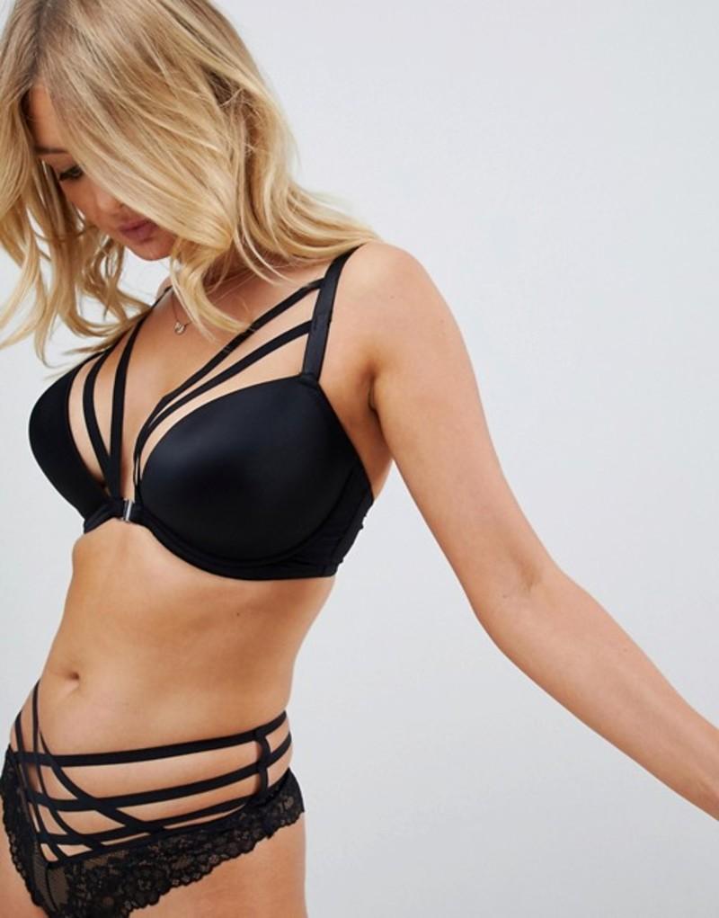 ポアモア レディース ブラジャー アンダーウェア Pour Moi Contradiction Strapped Front Fastening T-Shirt Bra Black