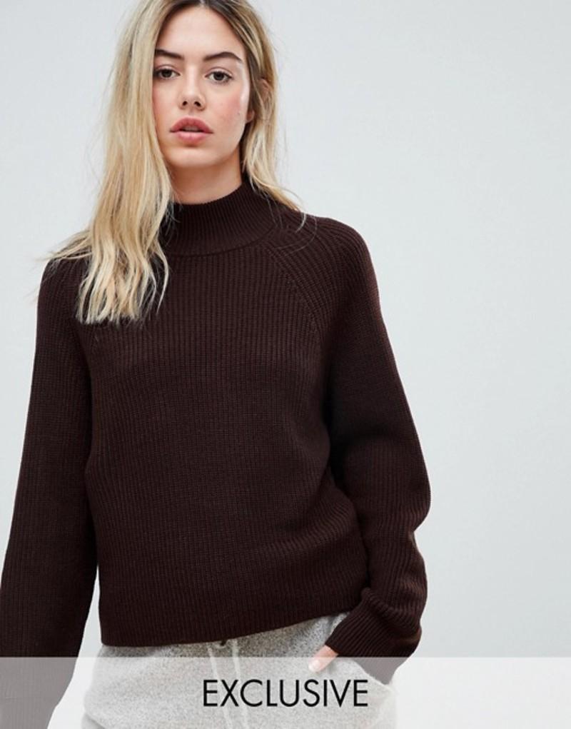 ミチャラウンジ レディース ニット・セーター アウター Micha Lounge boxy sweater with high neck Brown