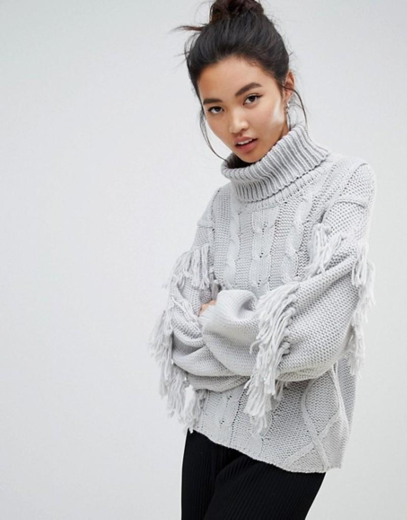 ネオンローズ レディース ニット・セーター アウター Neon Rose relaxed sweater with high neck in textured tassel knit Grey