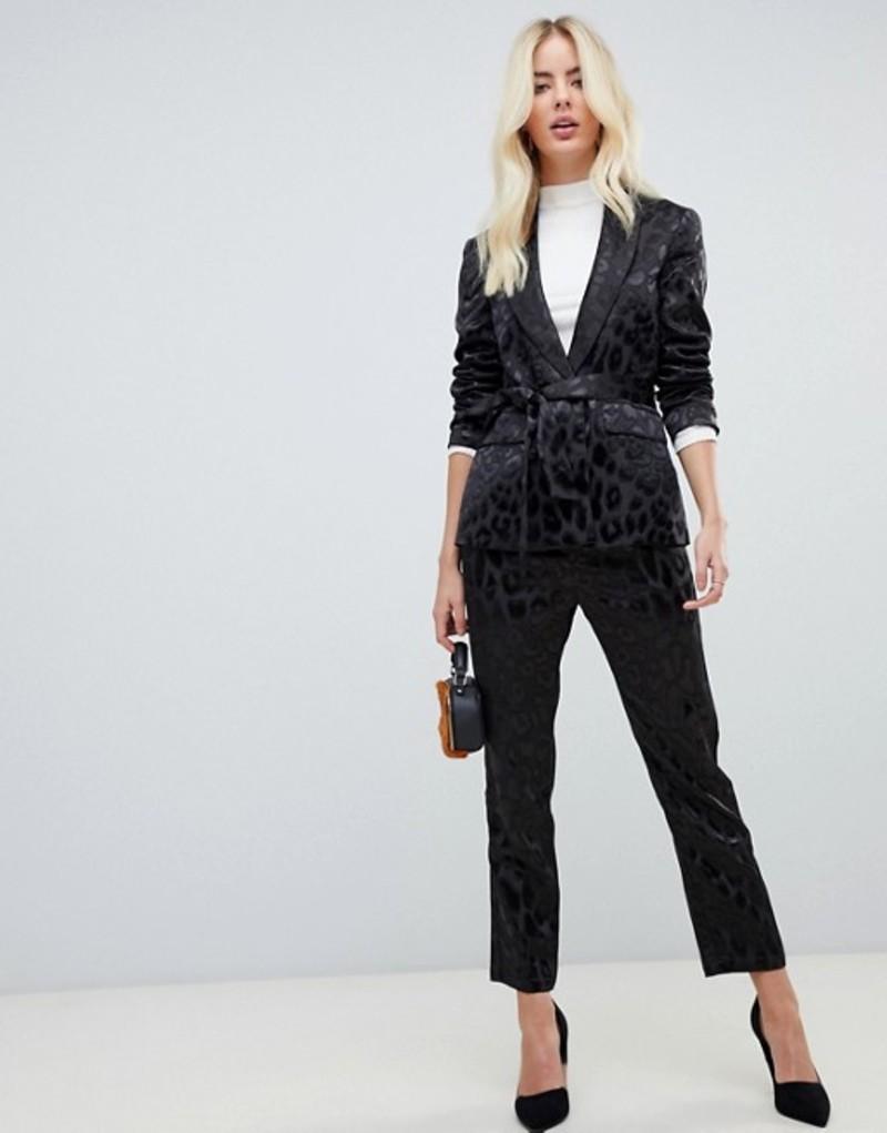 ファッションモンキー レディース カジュアルパンツ ボトムス Fashion Union slim pants in satin leopard two-piece Black leopard