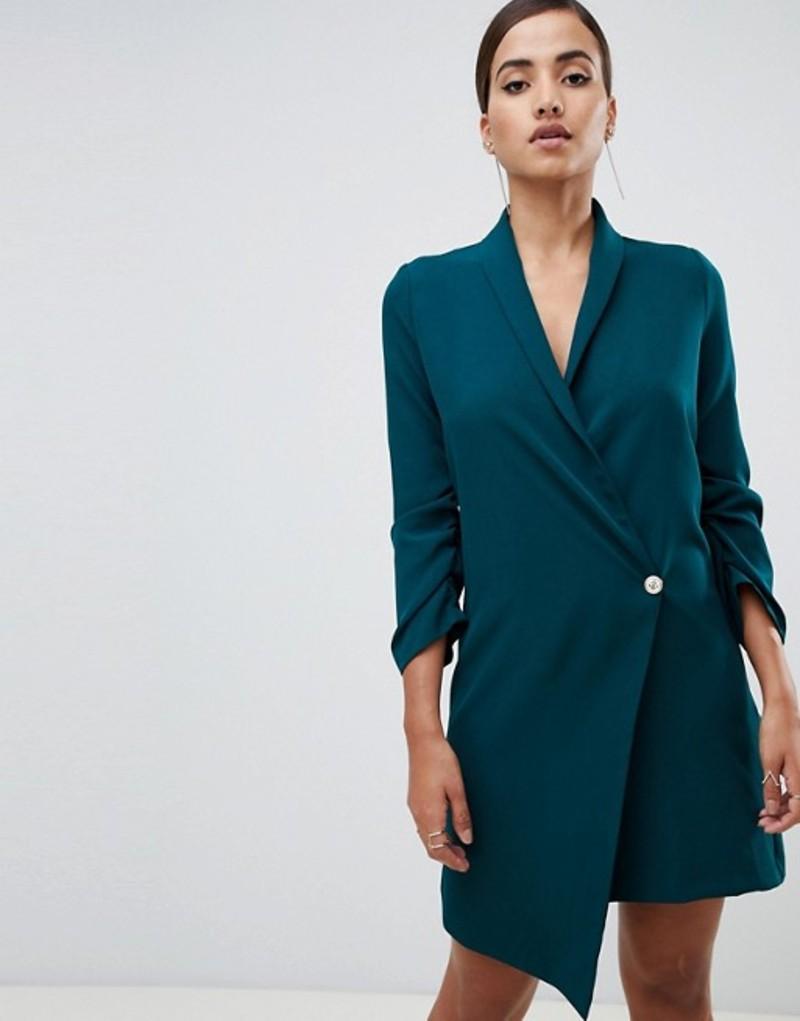 ベスパー レディース ワンピース トップス Vesper ruched sleeve asymmetric hem tuxedo dress in green Forest green