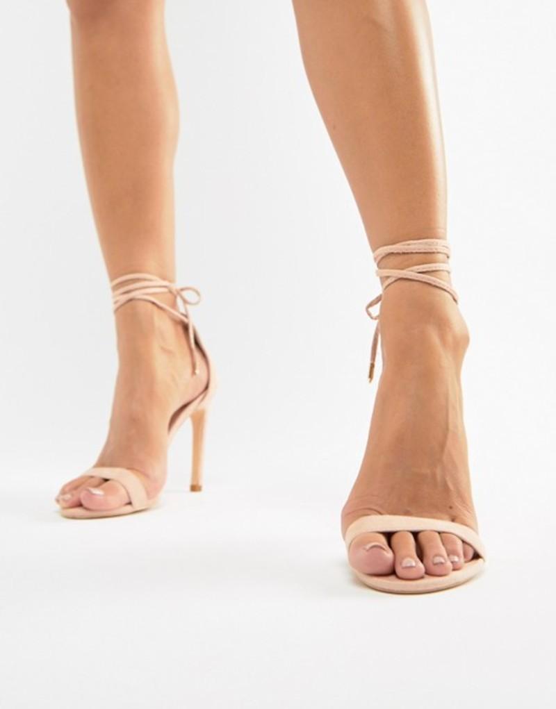 グラマラス レディース ヒール シューズ Glamorous pink ankle tie heeled sandals Pink