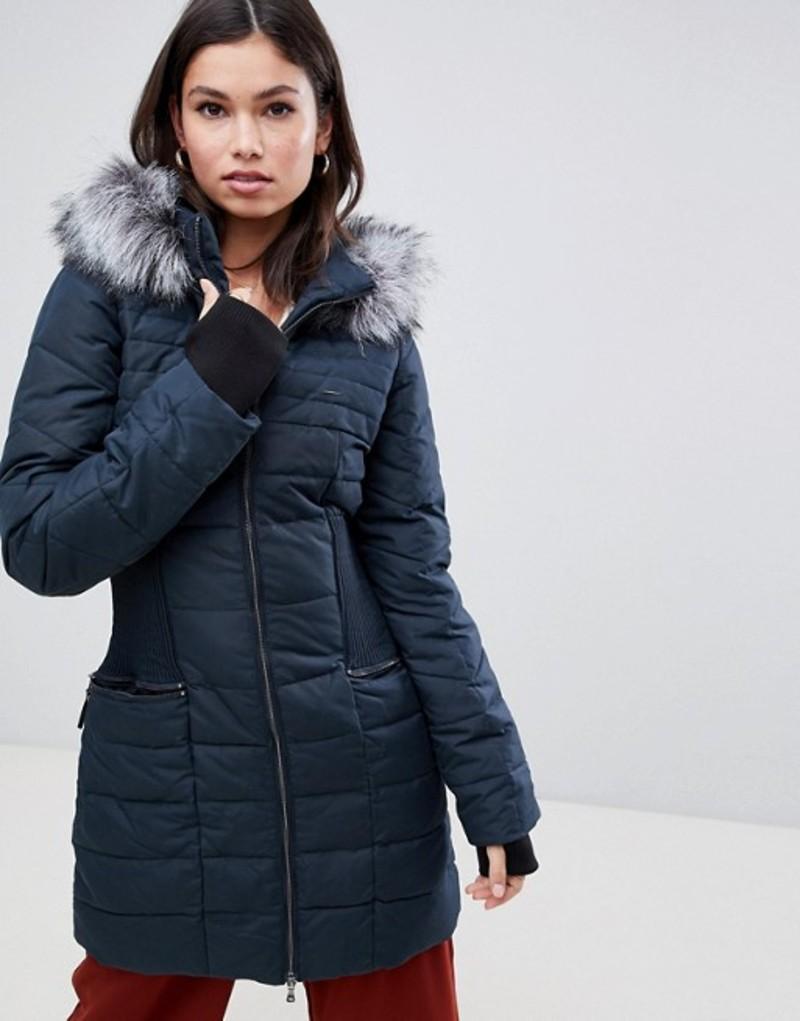 ワイエーエス レディース パーカー・スウェット アウター Y.A.S gathered waist parka with faux fur trim hood Carbon