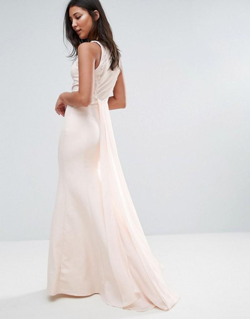 リトルミストレス レディース ワンピース トップス Little Mistress Sheer Maxi Dress With Jewel Neckline Light pink
