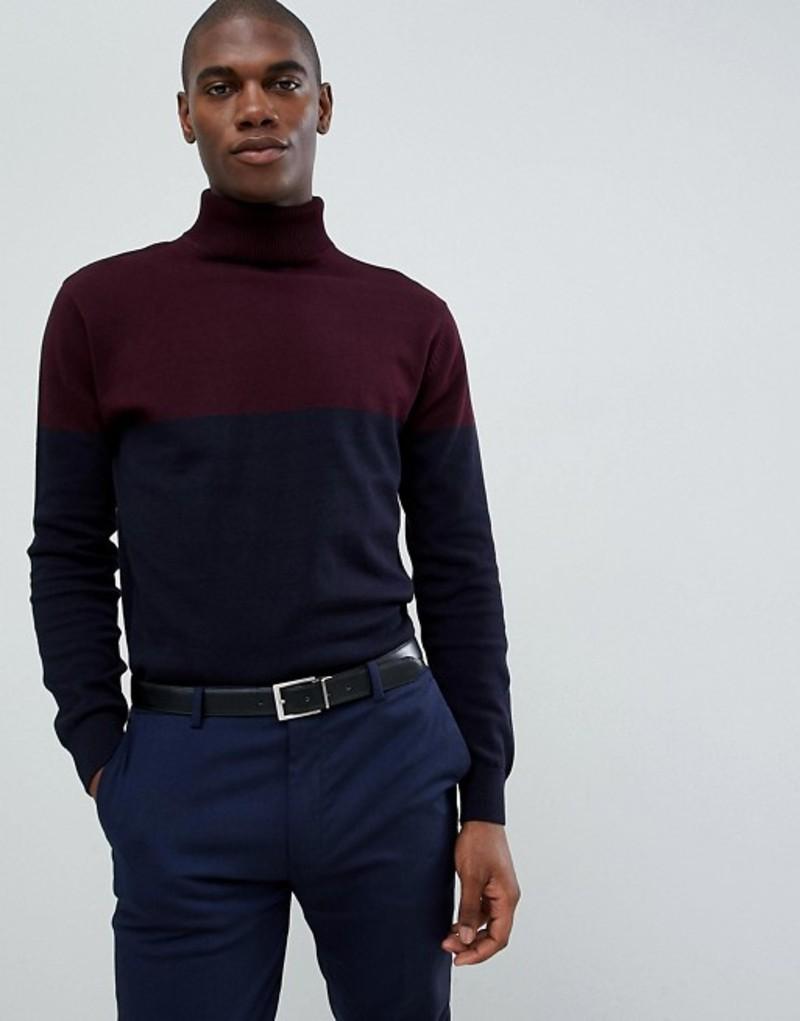 フレンチコネクション メンズ ニット・セーター アウター French Connection Contrast Color Block 100% Cotton Roll Neck Sweater Chateaux / mari