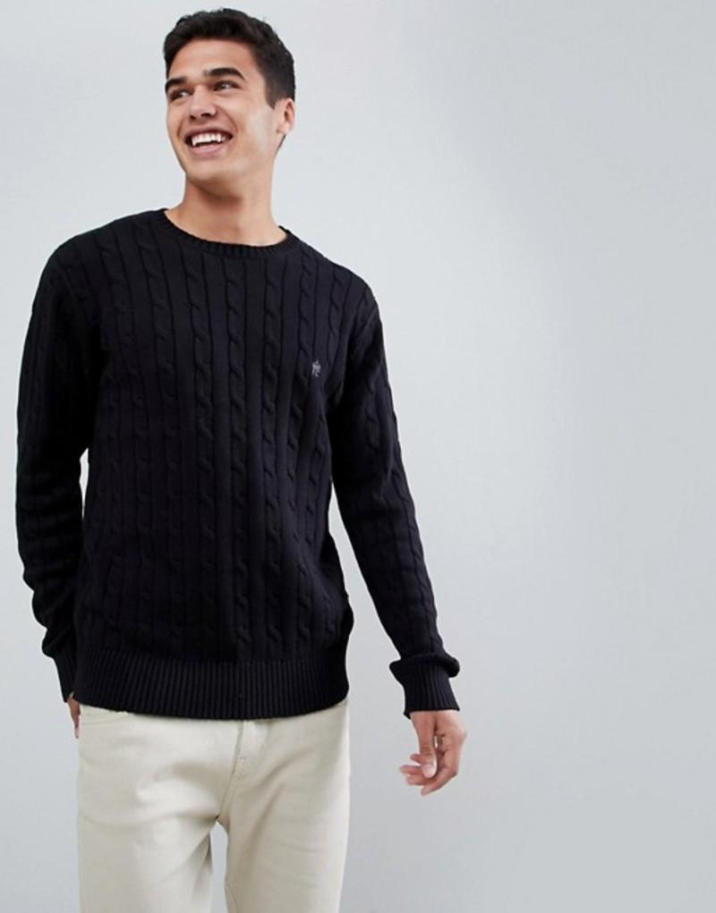 フレンチコネクション メンズ ニット・セーター アウター French Connection 100% Cotton Logo Cable Knit Sweater Black