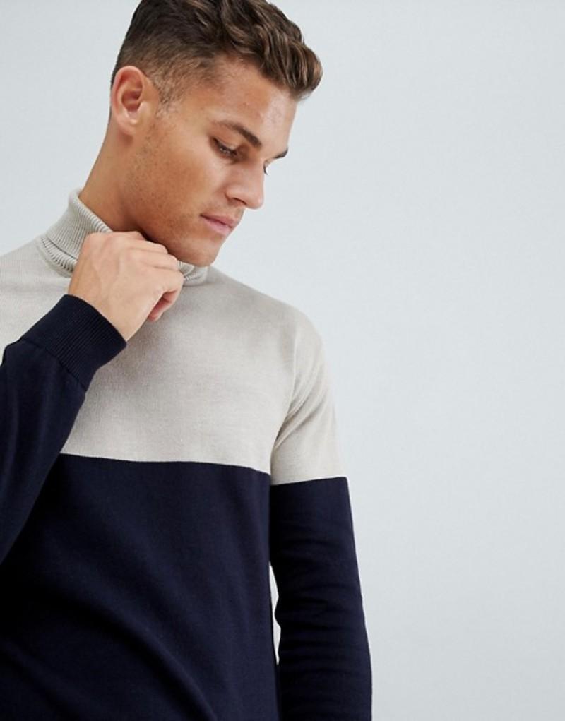フレンチコネクション メンズ ニット・セーター アウター French Connection Contrast Color Block 100% Cotton Roll Neck Sweater Stone / marine