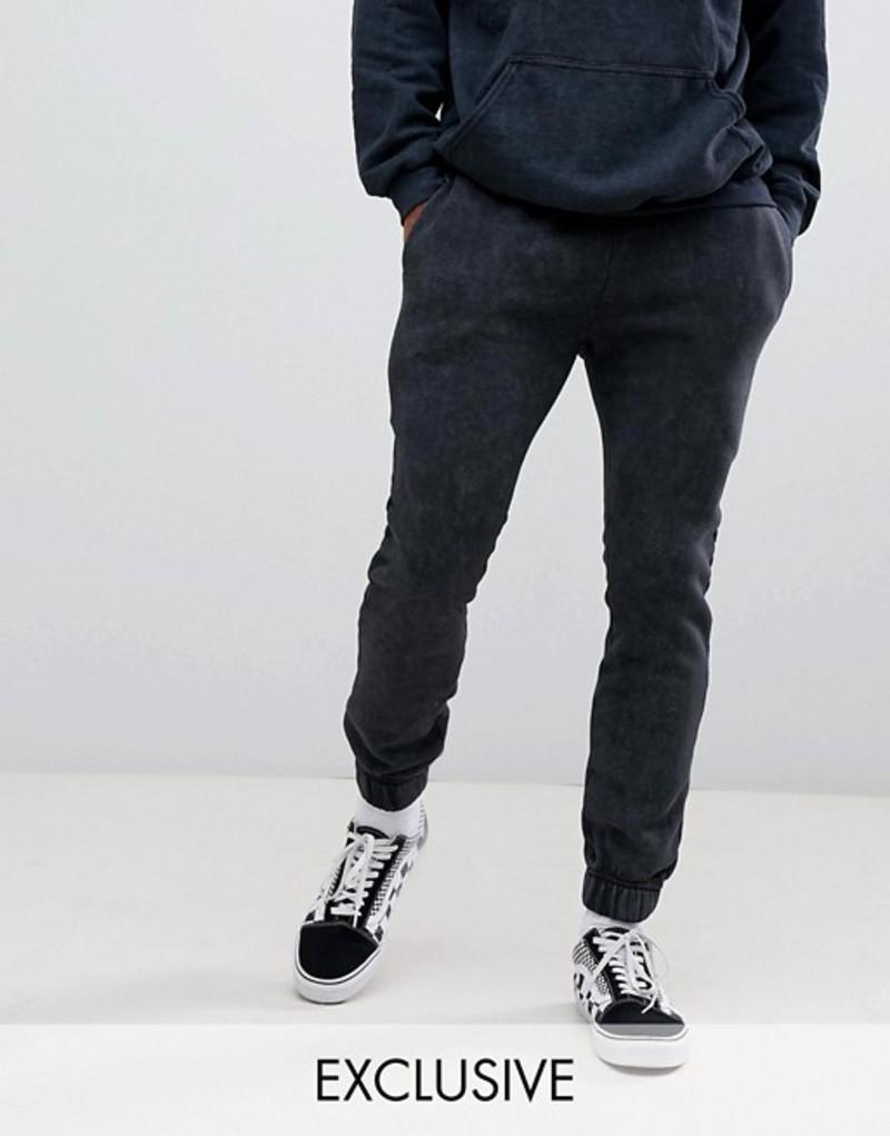 リクレイム ヴィンテージ メンズ カジュアルパンツ ボトムス Reclaimed Vintage inspired overdye jogger in washed black Black