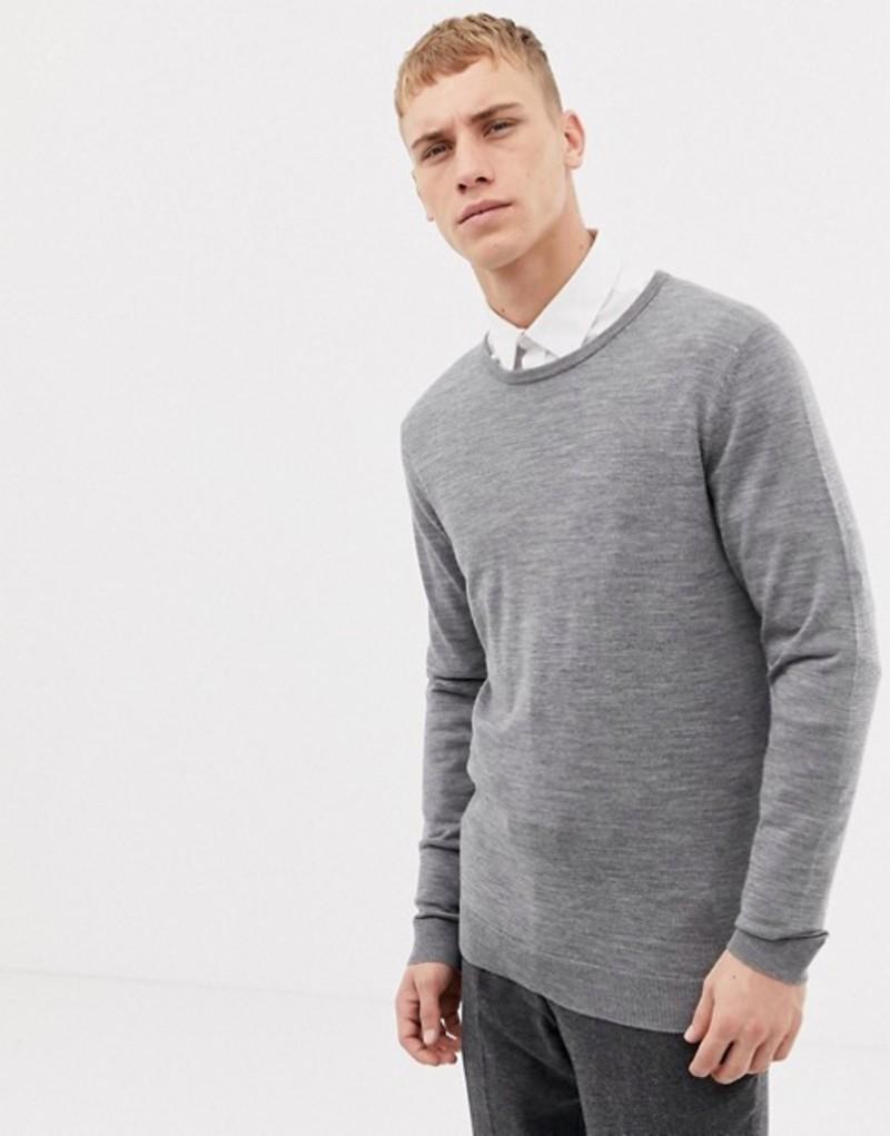 セレクテッドオム メンズ ニット・セーター アウター Selected Homme 100% Merino Knitted Sweater Titanium melange