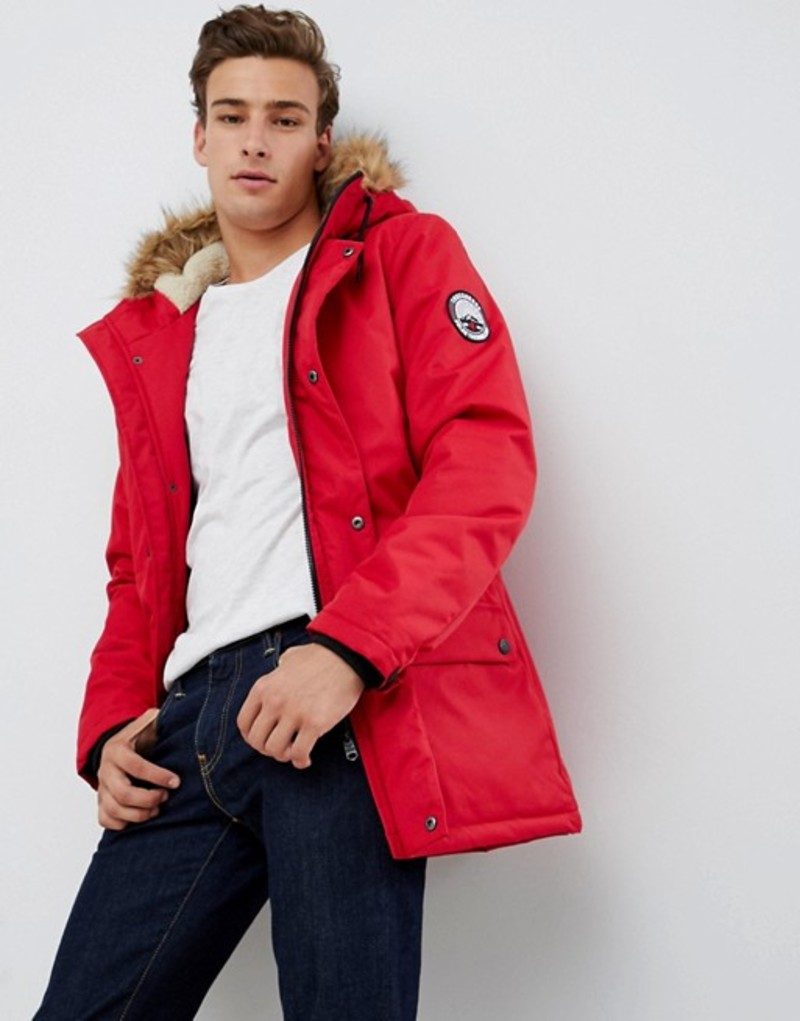 スリードベア メンズ パーカー・スウェット アウター Threadbare Parka Coat with Faux Fur Trim Hood Red