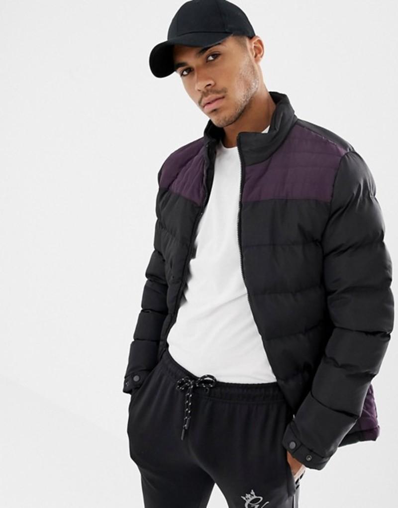 ソウルスター メンズ ジャケット・ブルゾン アウター Soul Star Cut and Sew Puffer Jacket Black