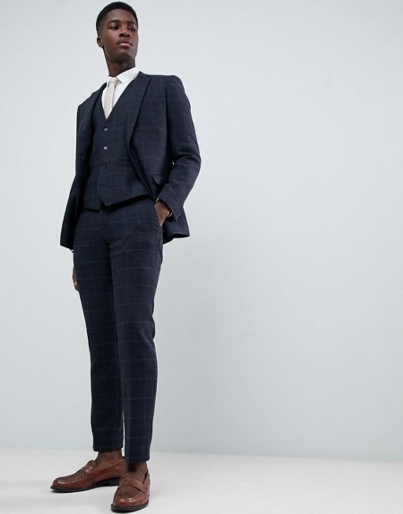 フレンチコネクション メンズ タンクトップ トップス French Connection Tweed Square Slim Fit Heritage Vest Dark blue
