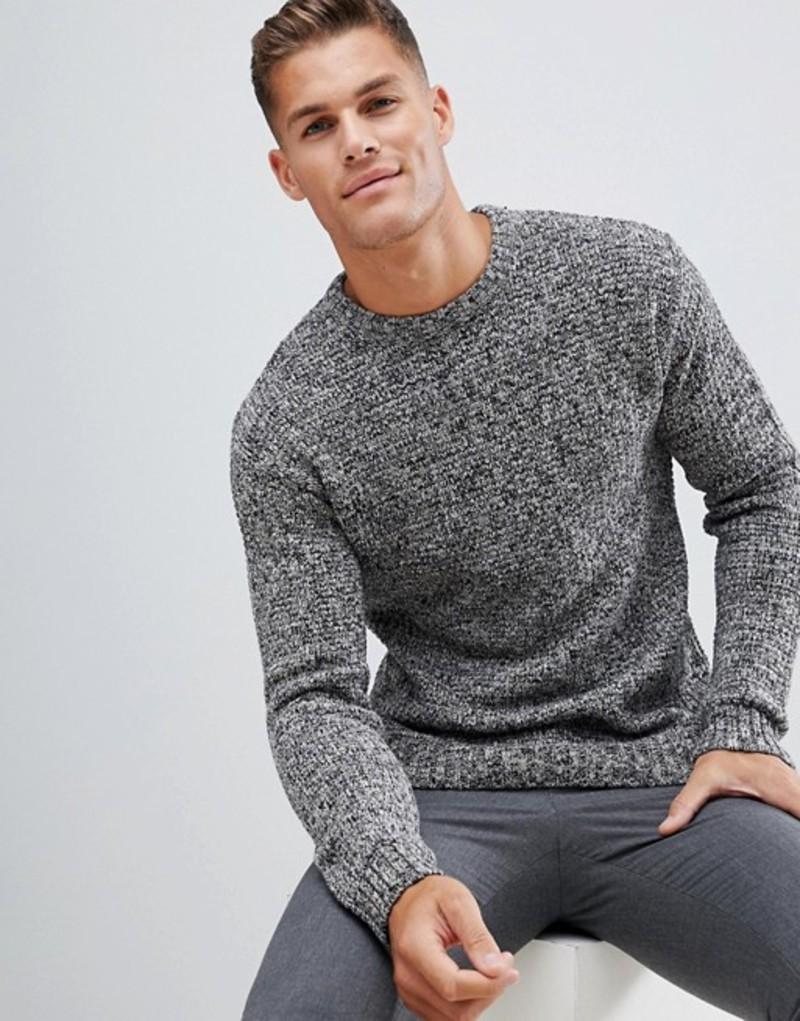 セレクテッドオム メンズ ニット・セーター アウター Selected Homme heavy mixed yarn knitted sweater Grey