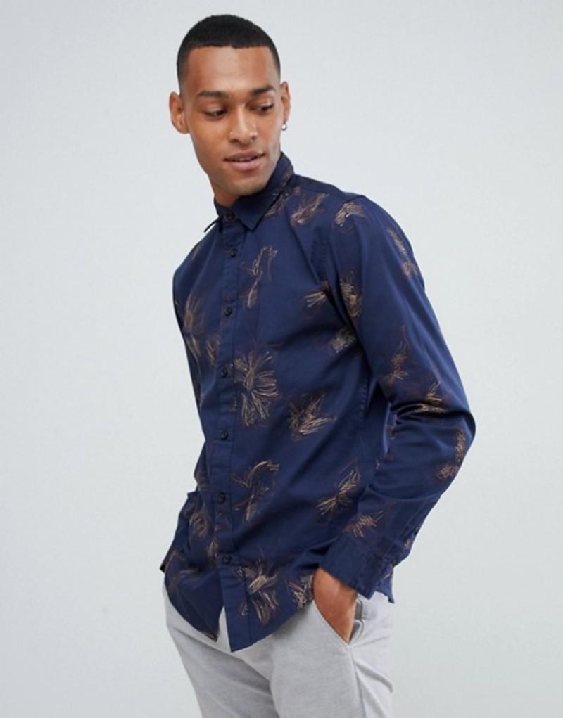 セレクテッドオム メンズ シャツ トップス Selected Homme shirt in slim fit with embroidery Dark navy emb tops b