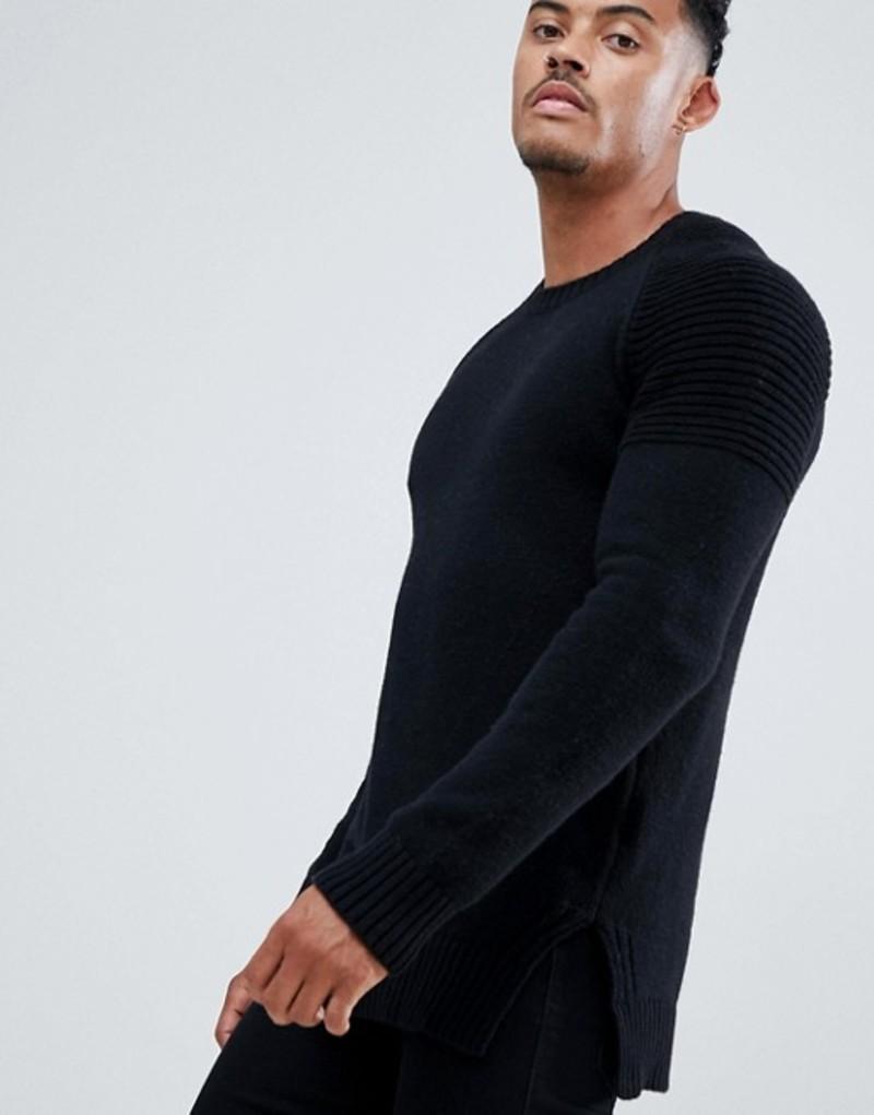 レリジョン メンズ ニット・セーター アウター Religion sweater in black with biker style sleeves Black