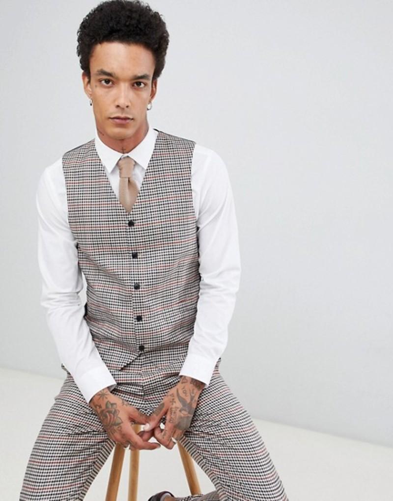 ジャンニ フェロー メンズ タンクトップ トップス Gianni Feraud Slim Fit Heritage Check Wool Blend Vest Brown
