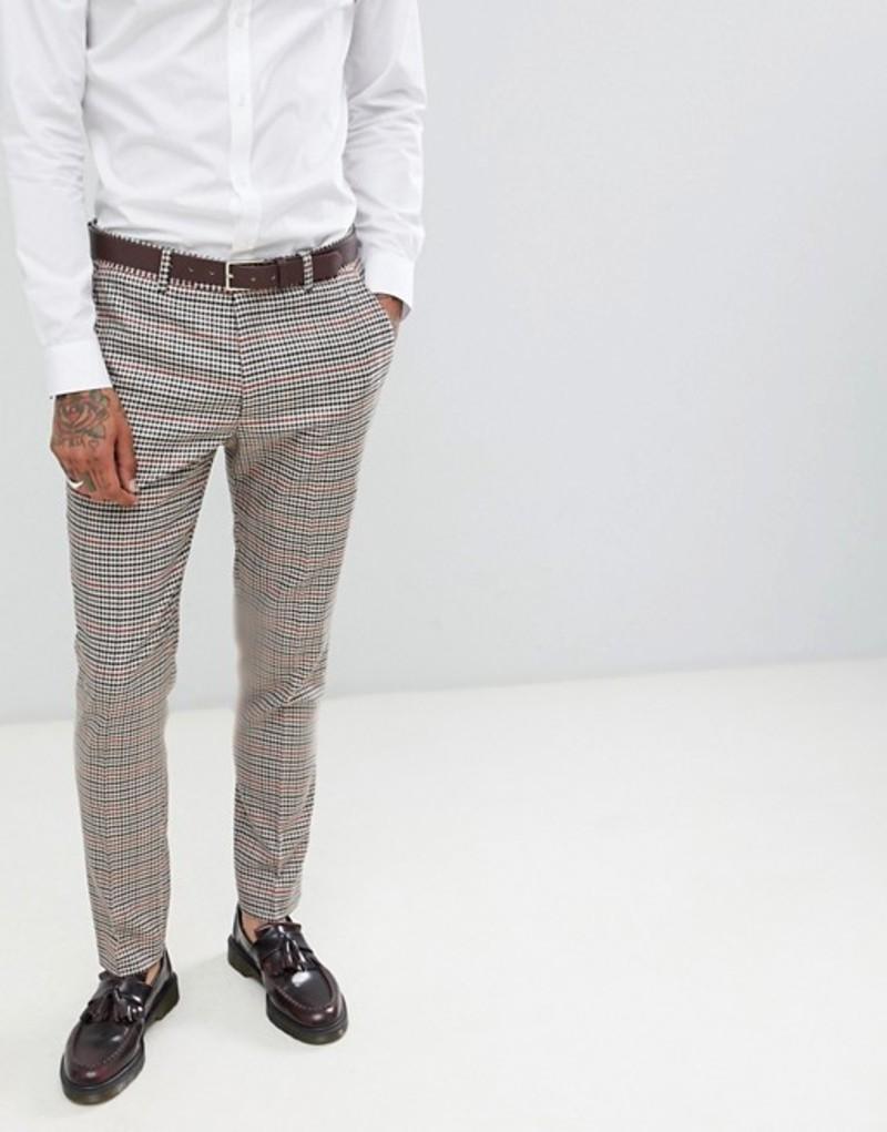 ジャンニ フェロー メンズ カジュアルパンツ ボトムス Gianni Feraud Slim Fit Heritage Check Wool Blend Suit Pants Brown