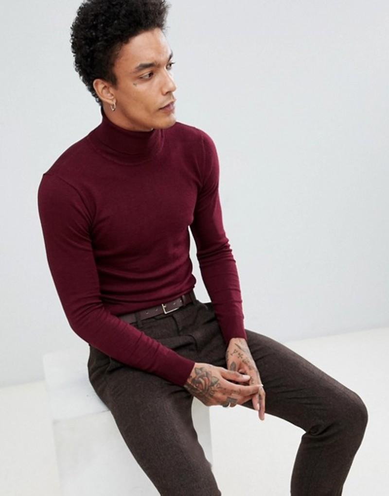 ジャンニ フェロー メンズ ニット・セーター アウター Gianni Feraud Premium Muscle Fit Stretch Roll Neck Fine Gauge Sweater Wine
