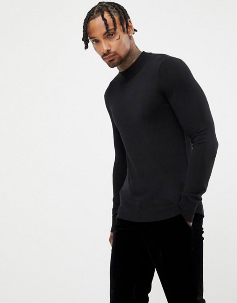 ジャンニ フェロー メンズ ニット・セーター アウター Gianni Feraud Premium Muscle Fit Stretch Turtleneck Fine Gauge Sweater Black