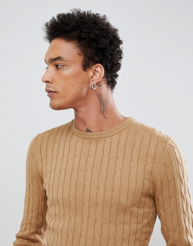 ジャンニ フェロー メンズ ニット・セーター アウター Gianni Feraud Premium Muscle Fit Stretch Crew Neck Cable Sweater Camel