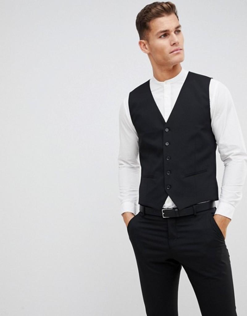 セレクテッドオム メンズ タンクトップ トップス Selected Homme suit vest with stretch in slim fit Black