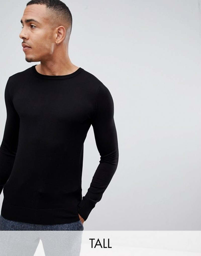 ジャンニ フェロー メンズ ニット・セーター アウター Gianni Feraud Tall premium muscle fit stretch crew neck sweater Black