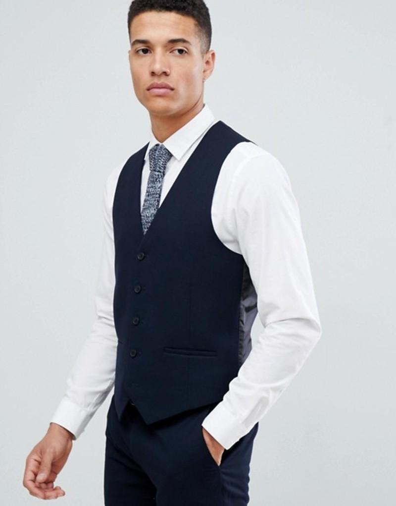 ファーラー メンズ タンクトップ トップス Farah Hampton Hopsack slim fit vest True navy