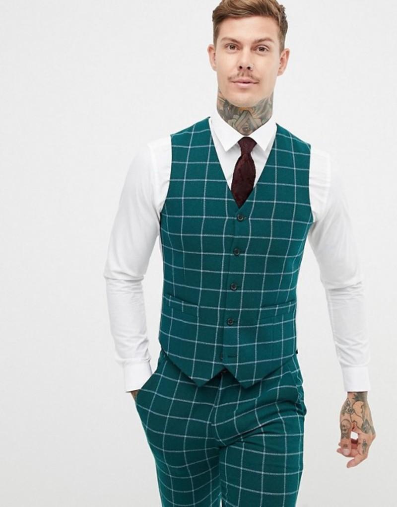 エイソス メンズ タンクトップ トップス ASOS DESIGN skinny suit vest in forest green windowpane check Green
