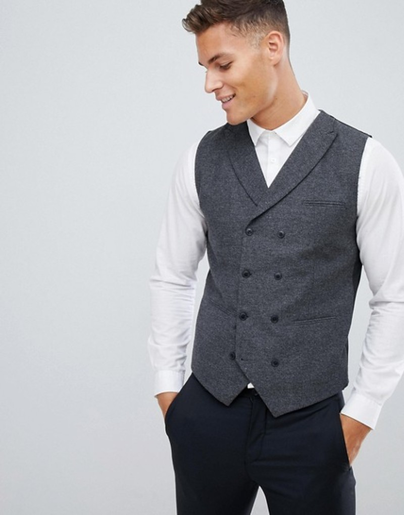ジャック アンド ジョーンズ メンズ タンクトップ トップス Jack & Jones Premium slim vest with wool mix Dark grey