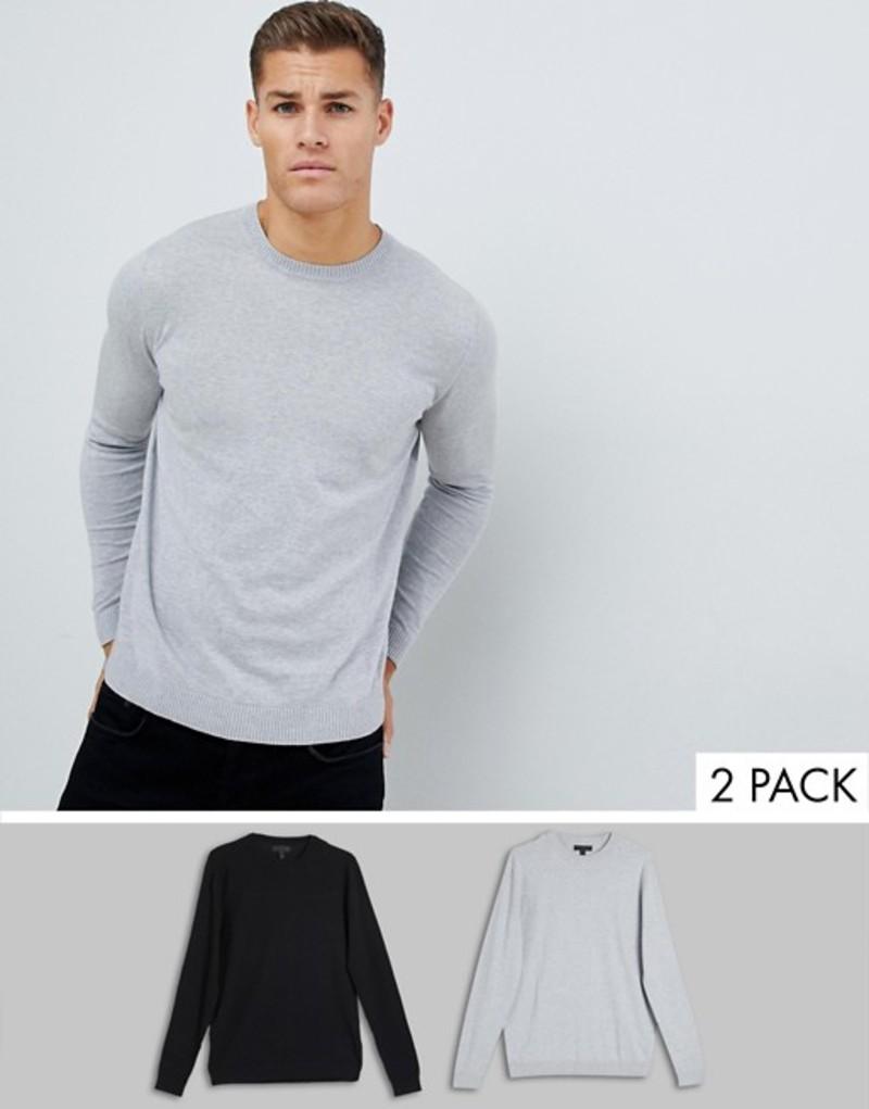 エイソス メンズ ニット・セーター アウター ASOS DESIGN sweater in black / light gray 2 pack save Multi