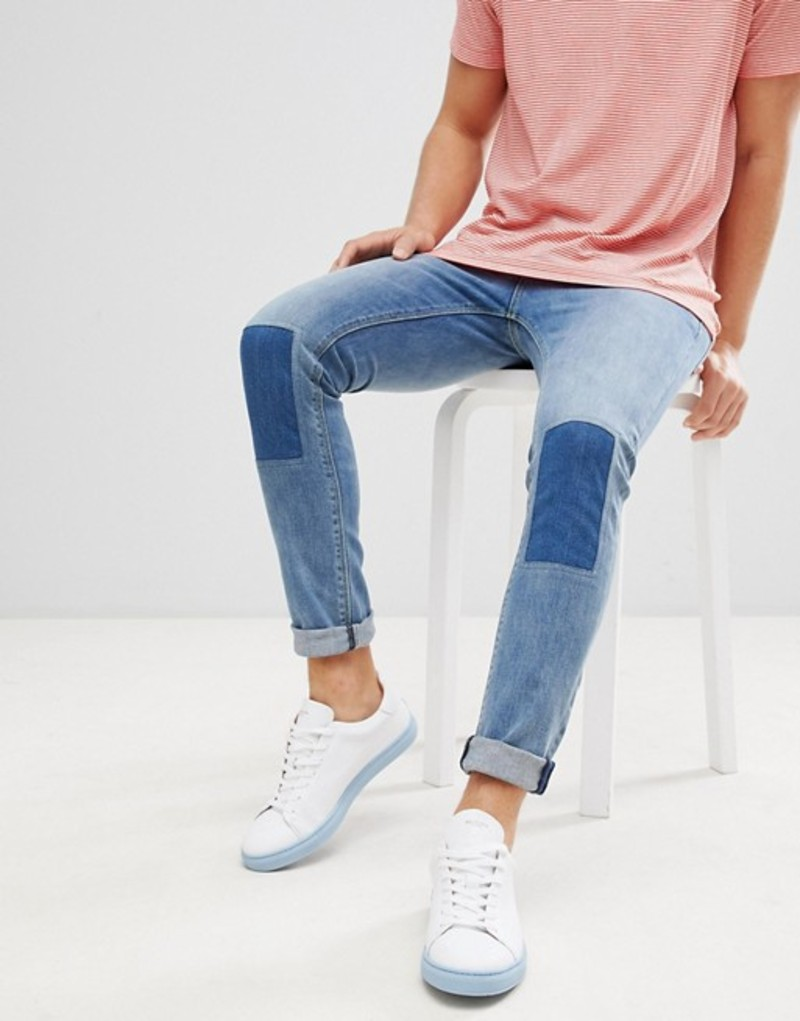 エイソス メンズ デニムパンツ ボトムス ASOS DESIGN super skinny jeans in vintage mid wash with rip and repair Mid wash vintage