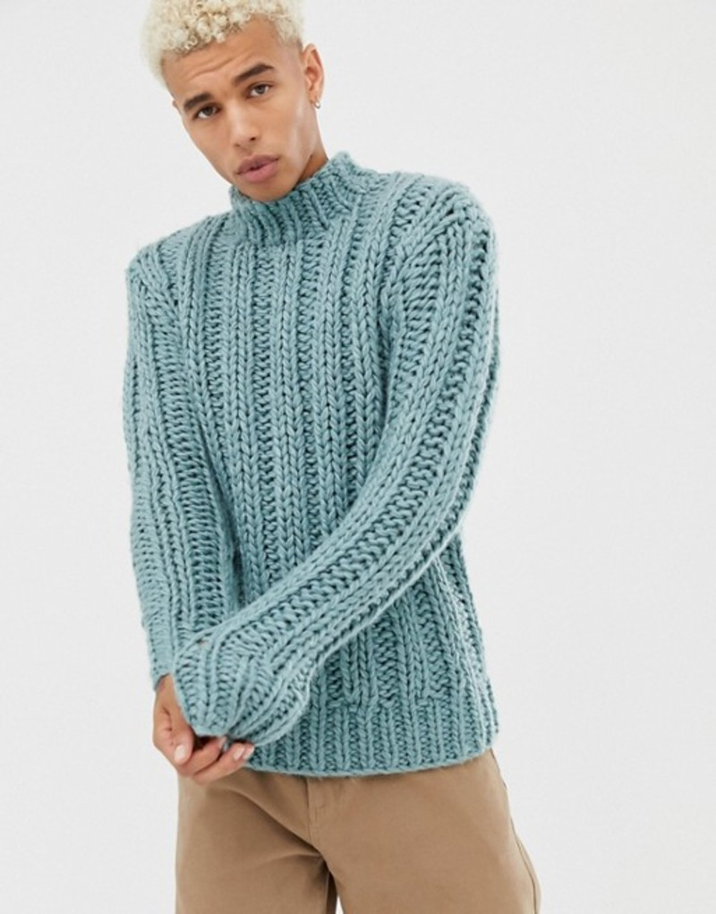 エイソス メンズ ニット・セーター アウター ASOS DESIGN hand knitted heavyweight turtleneck sweater in light blue Light blue