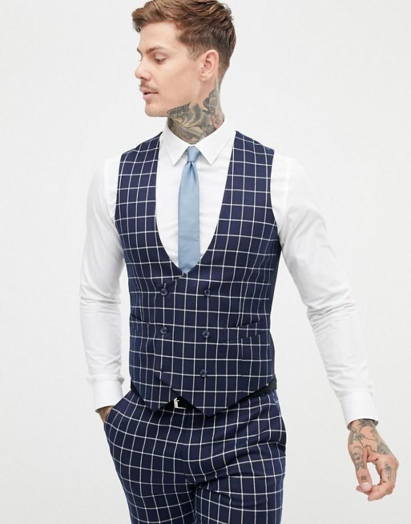 エイソス メンズ タンクトップ トップス ASOS DESIGN super skinny suit vest in navy grid check Navy