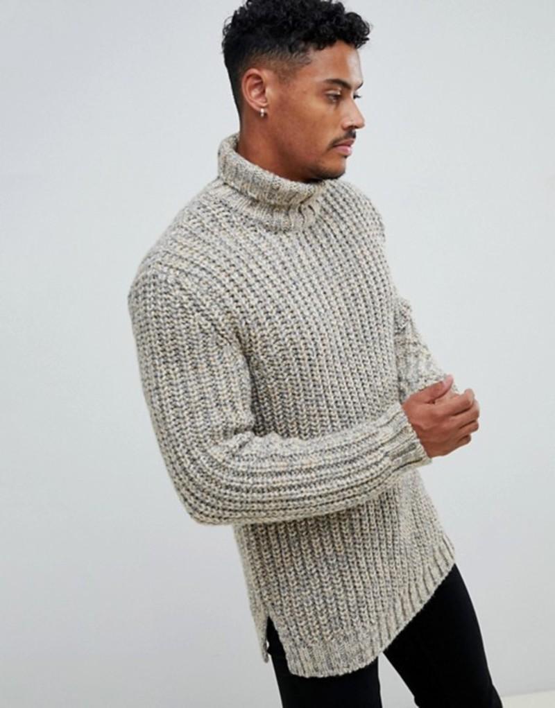 エイソス メンズ ニット・セーター アウター ASOS DESIGN heavyweight fisherman rib roll neck sweater in oatmeal Oatmeal