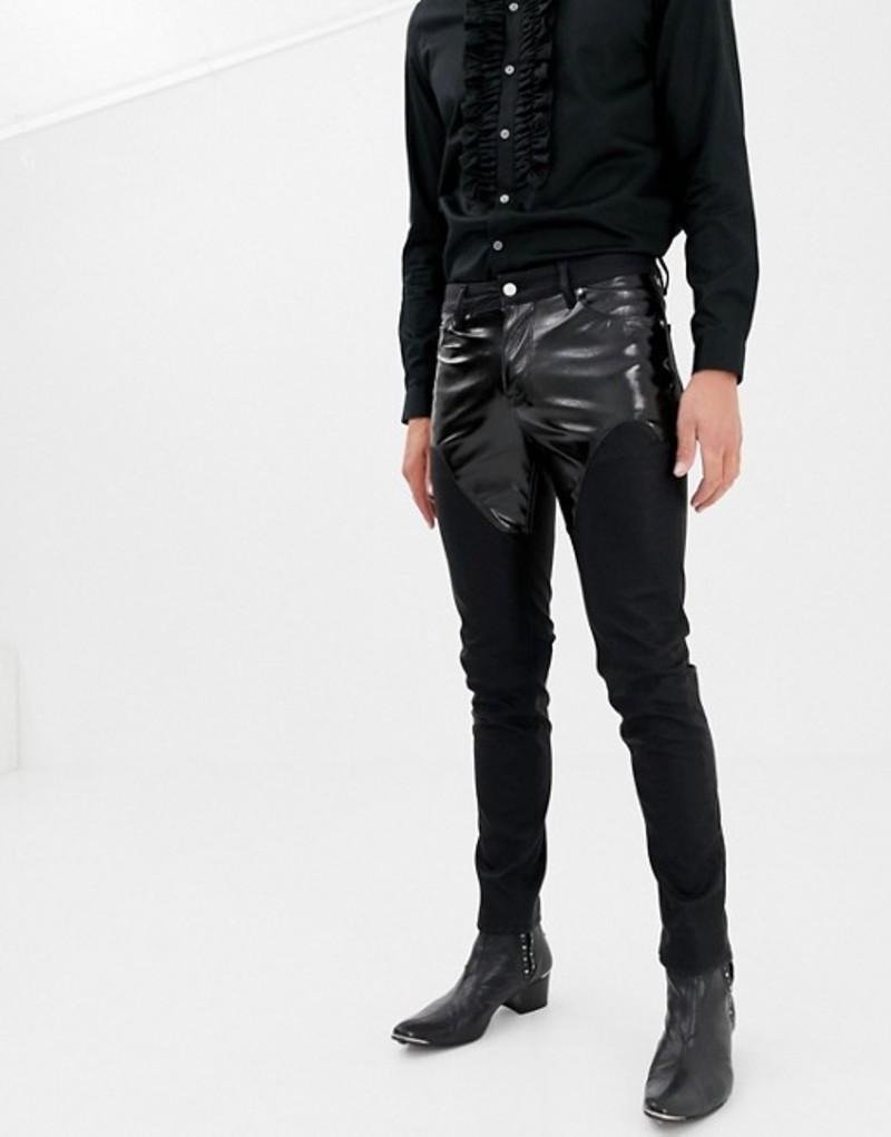 エイソス メンズ デニムパンツ ボトムス ASOS DESIGN skinny jeans in PU with western yolk Black