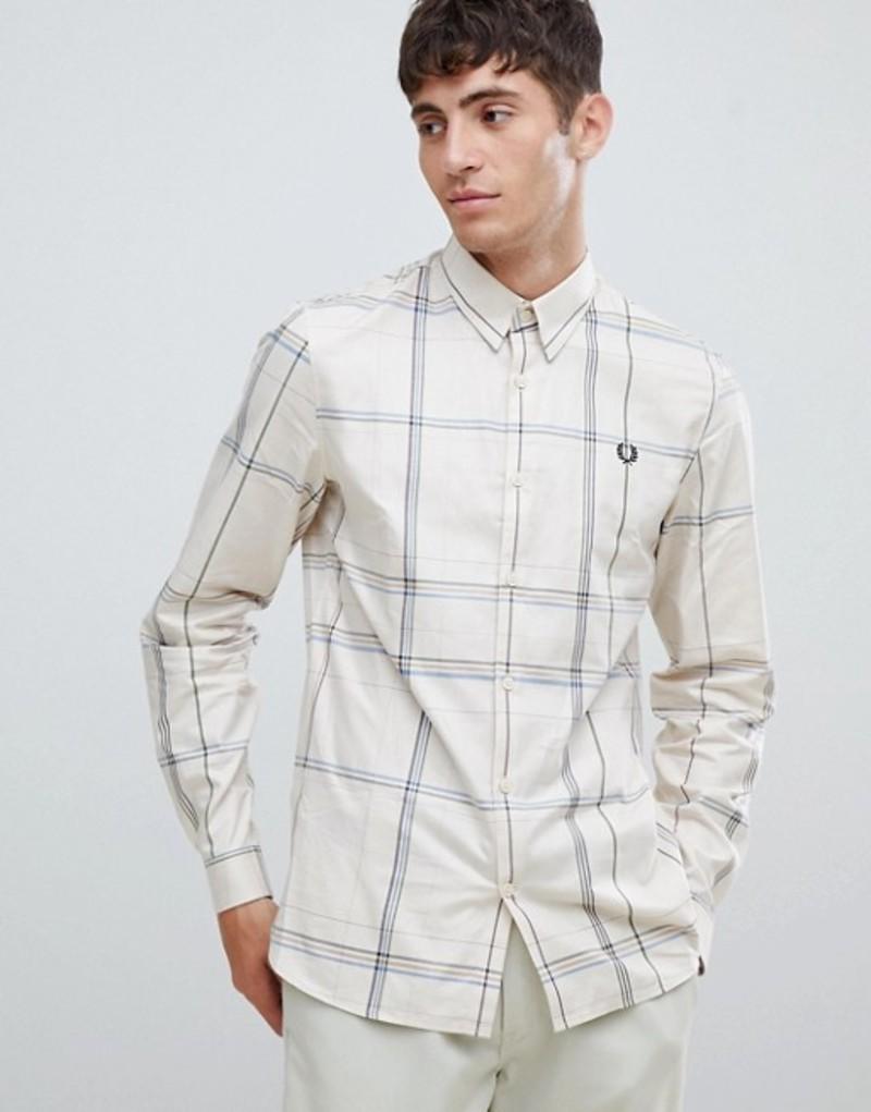 フレッドペリー メンズ シャツ トップス Fred Perry enlarged check shirt in off white White