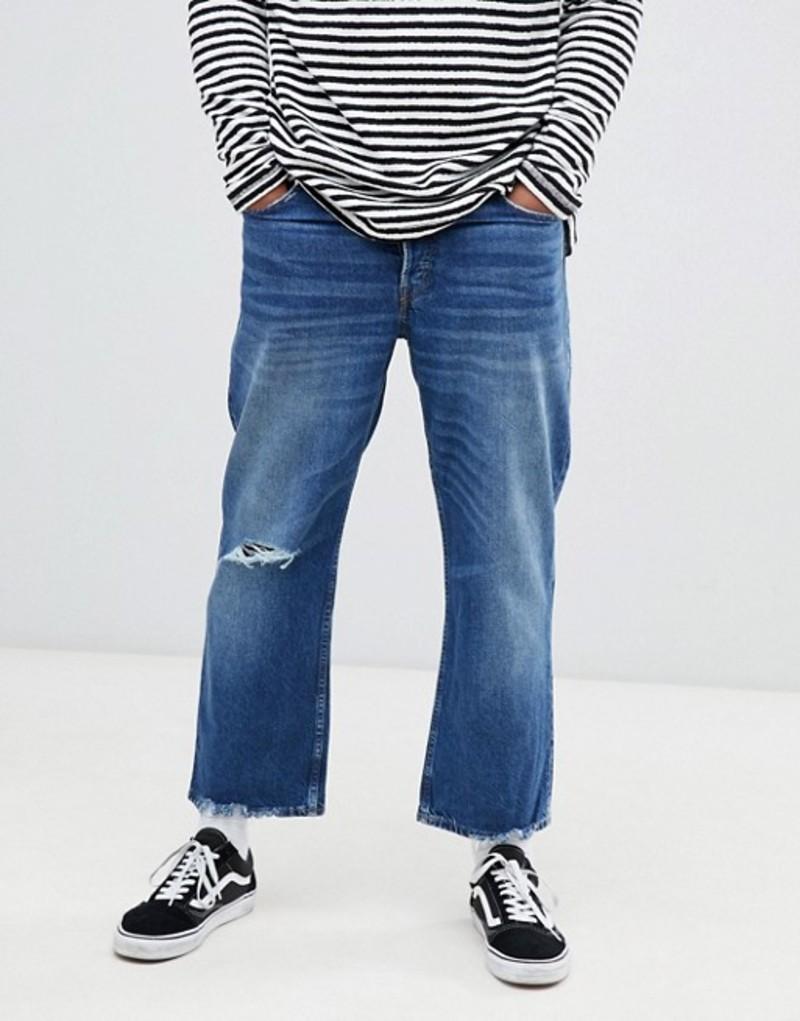 チープマンデー メンズ デニムパンツ ボトムス Cheap Monday Straight Fit Jeans With Distressing In Blue Blue