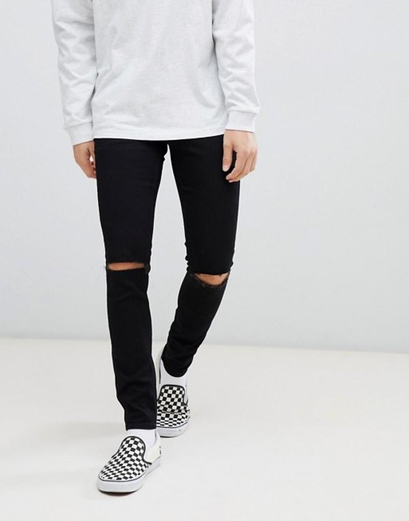 チープマンデー メンズ デニムパンツ ボトムス Cheap Monday super skinny jeans in black with knee rip Black