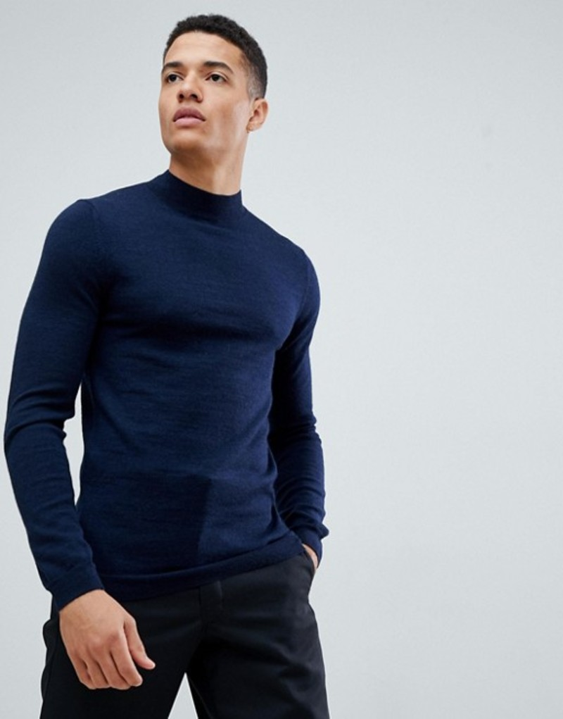 エイソス メンズ ニット・セーター アウター ASOS DESIGN muscle fit merino wool turtleneck sweater in navy Navy