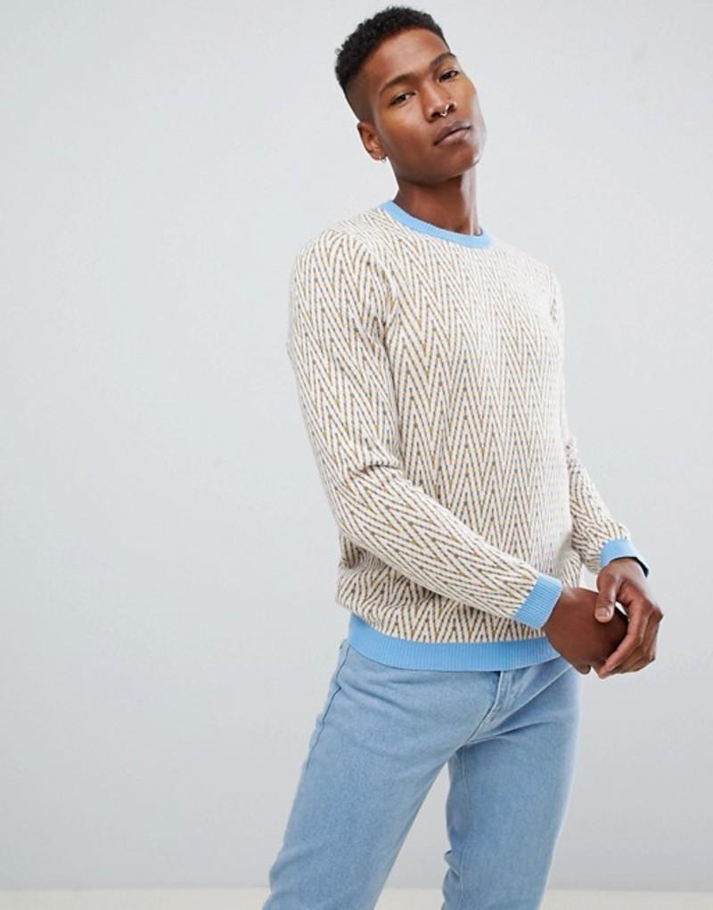 エイソス メンズ ニット・セーター アウター ASOS DESIGN chevron design sweater in ecru with blue trims Ecru