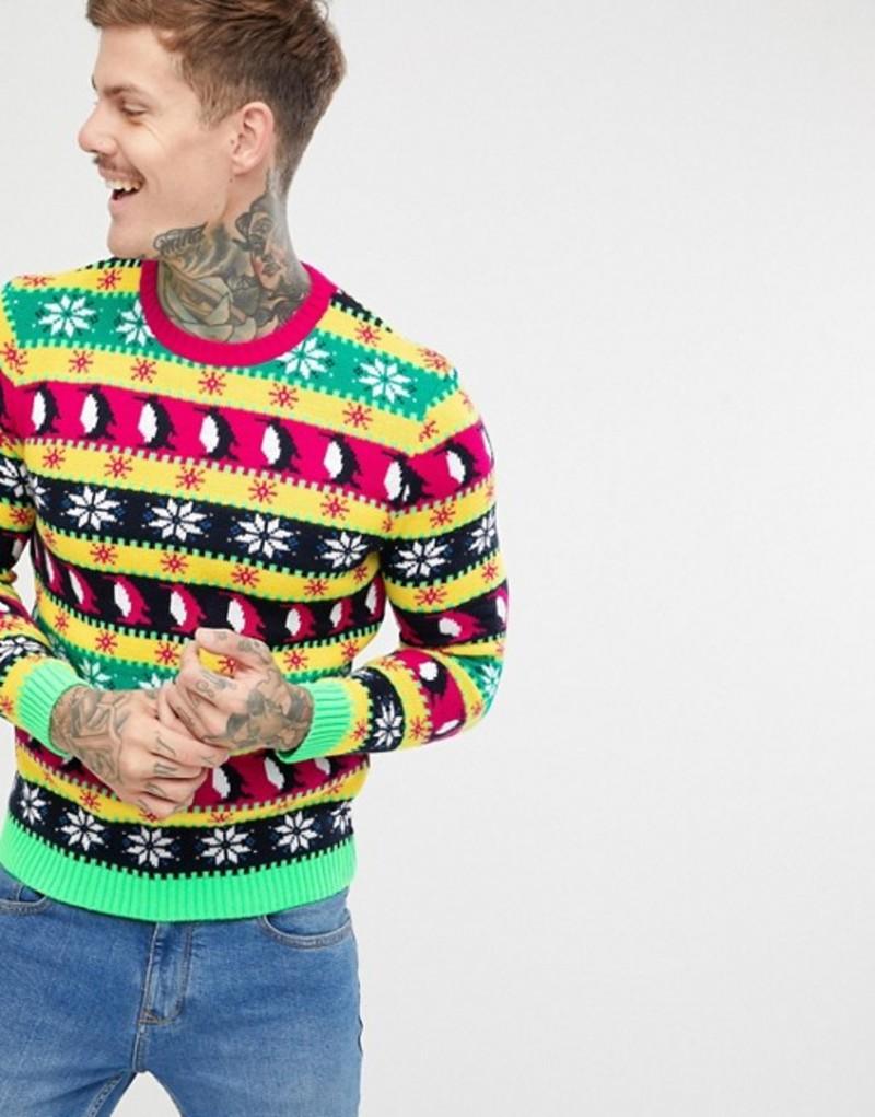 エイソス メンズ ニット・セーター アウター ASOS DESIGN Holidays sweater in festive MULTICOLOR design Multi