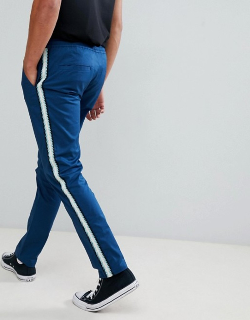 エイソス メンズ カジュアルパンツ ボトムス ASOS DESIGN slim pants in blue with side taping Blue