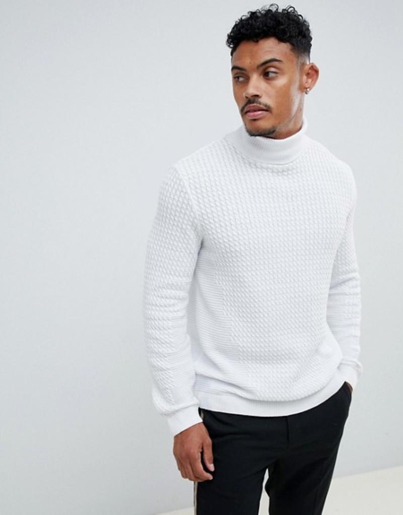 エイソス メンズ ニット・セーター アウター ASOS DESIGN knitted cable roll neck sweater in white White