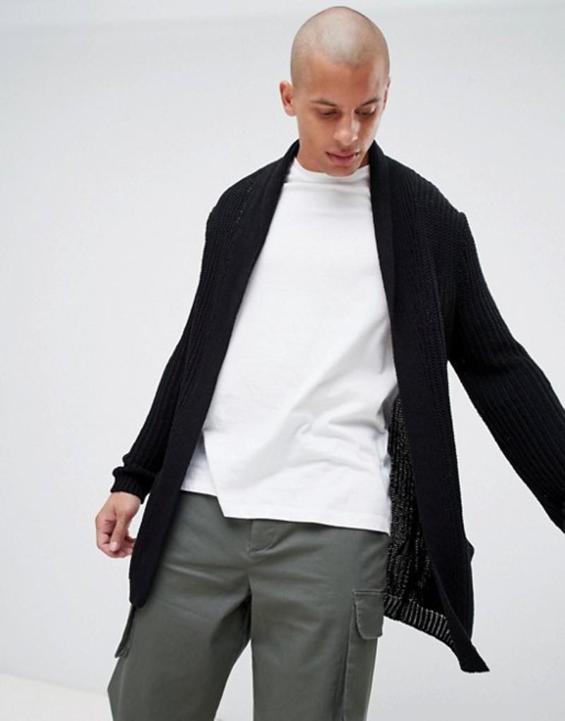 エイソス メンズ カーディガン アウター ASOS DESIGN knitted cardigan in black Black