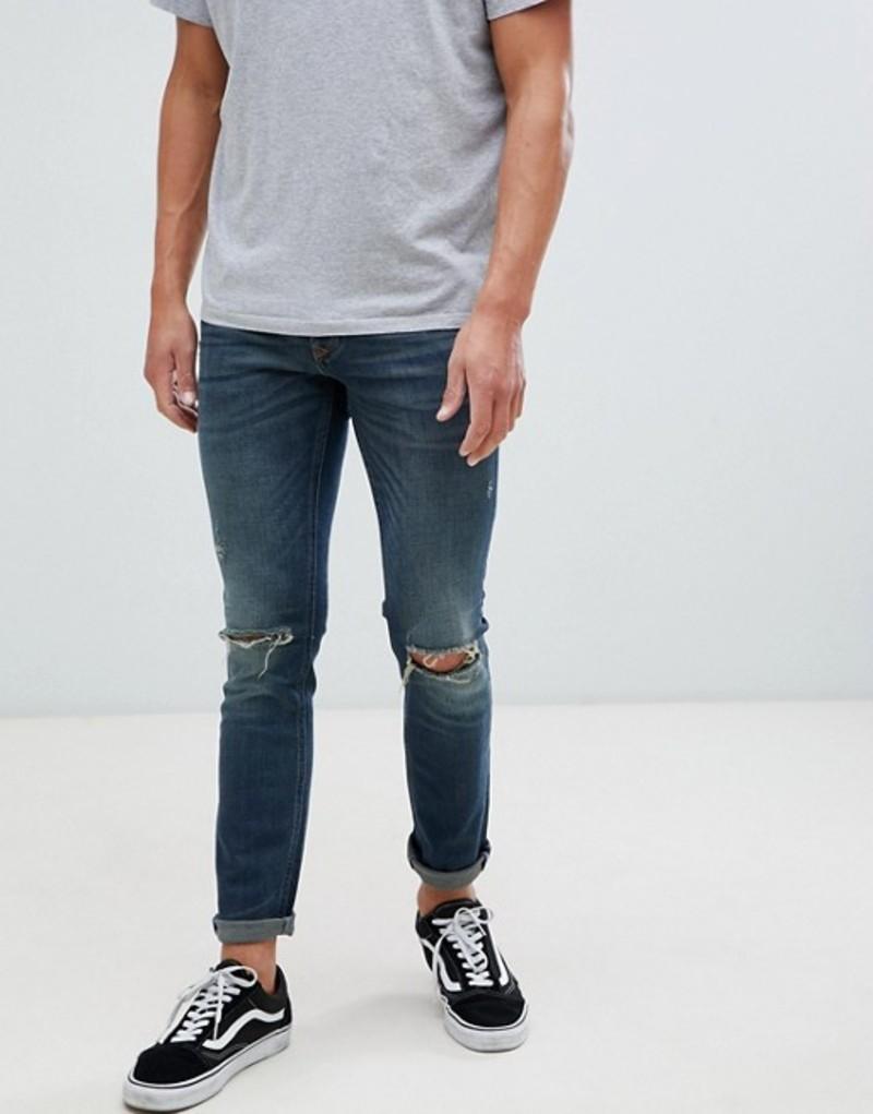 リバーアイランド メンズ デニムパンツ ボトムス River Island skinny fit jeans with knee rips in mid wash blue Mid blue
