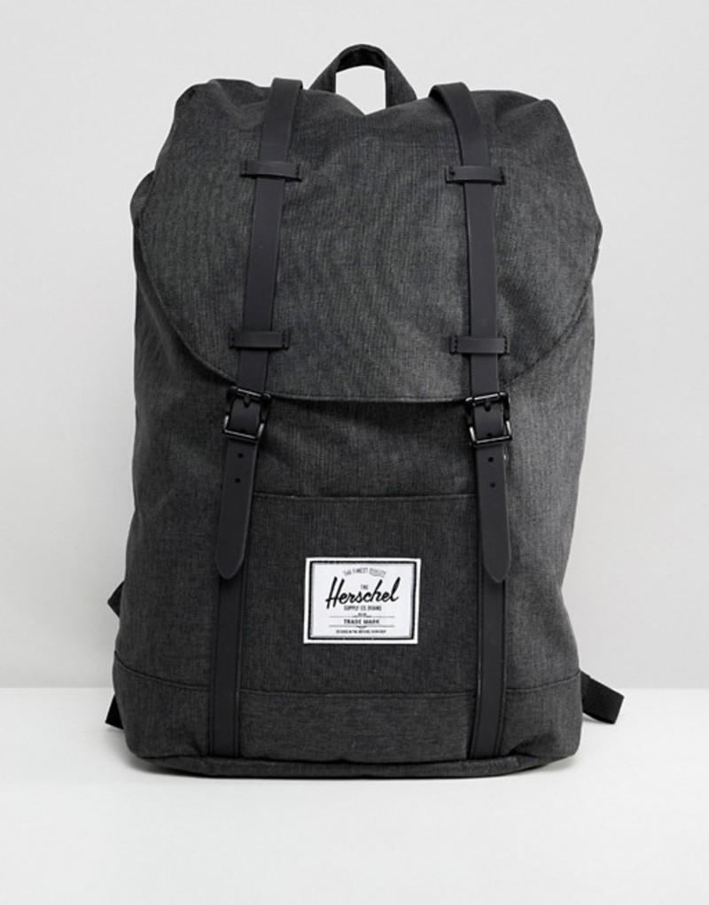 ハーシャル メンズ バックパック・リュックサック バッグ Herschel Supply Co Retreat Crosshatch large backpack Black