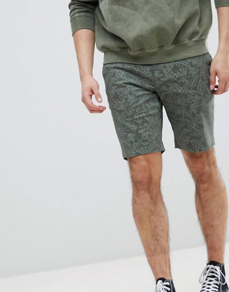 テッドベーカー メンズ ハーフパンツ・ショーツ ボトムス Ted Baker Shorts In Khaki With Leaf Print Green