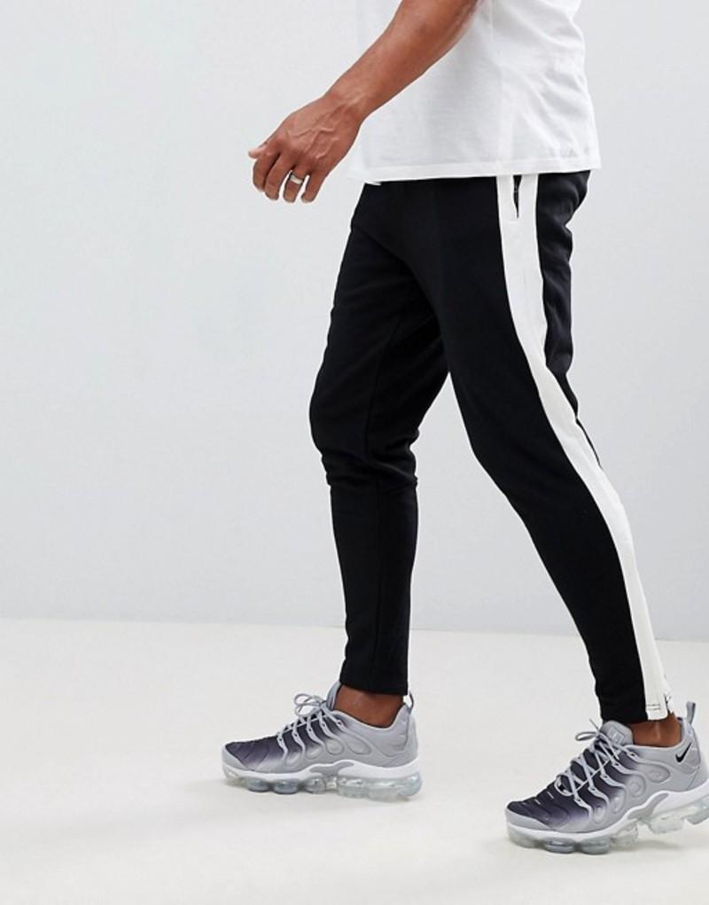 シックスジュン メンズ カジュアルパンツ ボトムス Sixth June skinny joggers in black with side stripe Blue